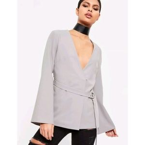 Missguided Blazer Grey Belted Bell Sleeve Jacket